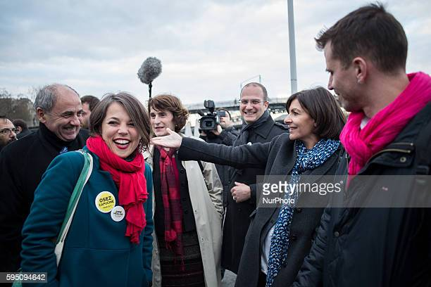 Popup and collection of Anne Hidalgo themed Acting sustainably against pollution in Paris France on March 18 2014