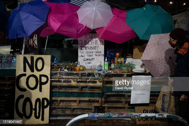 Popup shop with free snacks, water, and other items is seen near the Seattle Police Departments East Precinct on June 9, 2020 in Seattle, Washington....
