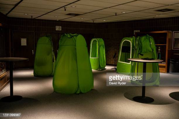 Pop-up tents are seen outside of an auditorium at Wenatchee High School on February 26, 2021 in Wenatchee, Washington. The school has been using...