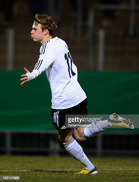 Porath Finn of Germany celebrates his team's first goal during the U16 international friendly match between Germany and Italy on March 5 2013 at...