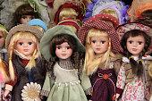Porcelain dolls in Prague market, sold as souvenirs