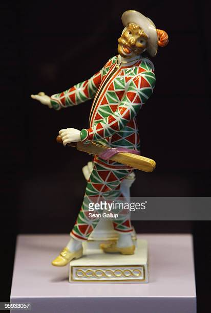 A porcelain harlequin from a design from 1772 stands on display at the exhibition All Nations Are Welcome 300 Years Meissen Manufactury in the...