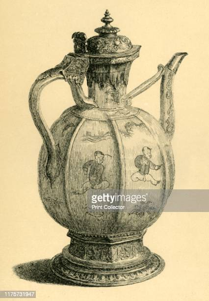 Porcelain pot 16th century Etching of a jug 'mounted on a piece of plate bearing the hall mark of 1585 It is quite possible that the jug may be much...