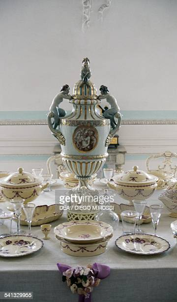 Porcelain tableware, Grand Palace, Peterhof, surroundings of St Petersburg, Russia.