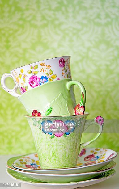 Porcelain tea cups stacked
