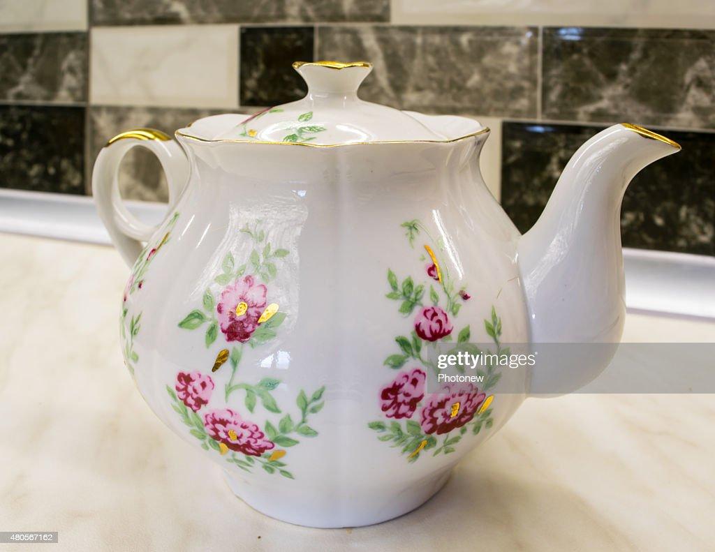 Porcelain teapot : Stock Photo