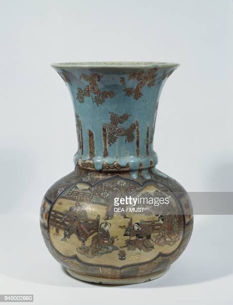 Porcelain vase with polychrome enamels 18751910 height 34 cm Japan 19th20th century