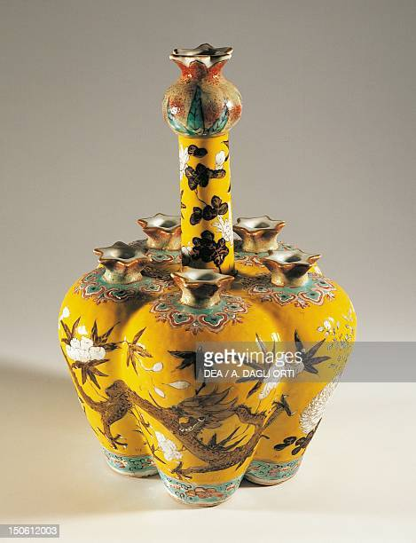 Porcelain vase with six mouths decorated with two dragons China Chinese Civilisation Qing dynasty Jiaqing reign 18th19th century