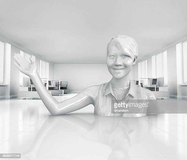 Porcelain woman popping up in a neat office