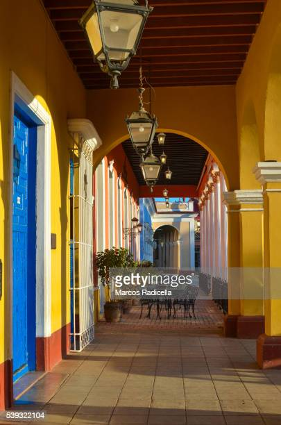 porch at remedios, santa clara, cuba - radicella stock pictures, royalty-free photos & images