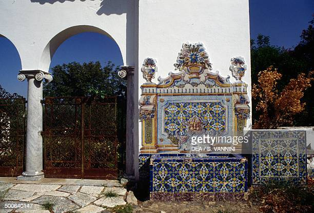 Porch of a ranch with azulejos decorations Alentejo Portugal