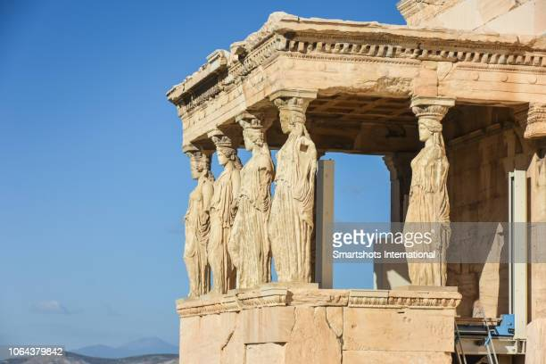 Porch of the Caryatids in The Erechtheion, Temple of Athena and Poseidon, Acropolis, Athens, Greece,
