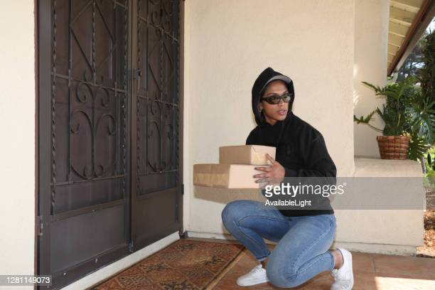 porch pirate ws horizontal - pirate criminal stock pictures, royalty-free photos & images
