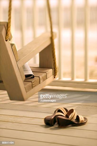 Porch swing with sandals, Holden Beach, North Carolina