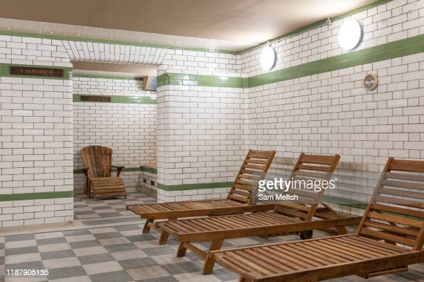 Porchester Spa sauna on the 29th November 2019 in London In the United Kingdom. The Porchester Spa in west London is the capital's oldest Spa.