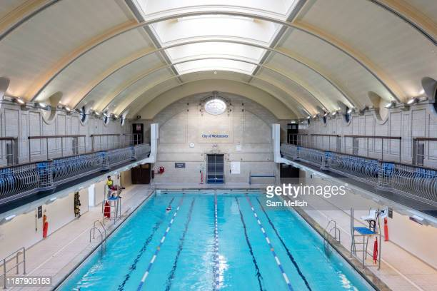 Porchester Spa swimming pool on the 29th November 2019 in London In the United Kingdom. The Porchester Spa in west London is the capital's oldest Spa.