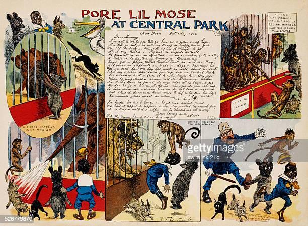 Pore Lil'Mose At Central Park Cartoon by Richard Felton Outcault