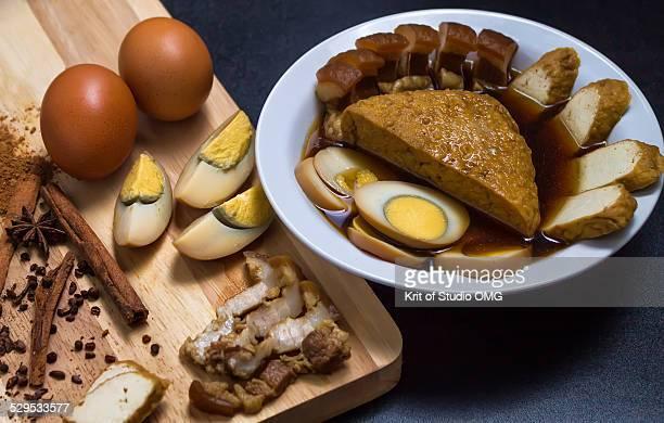 Pork belly, egg, tofu in stewed gravy