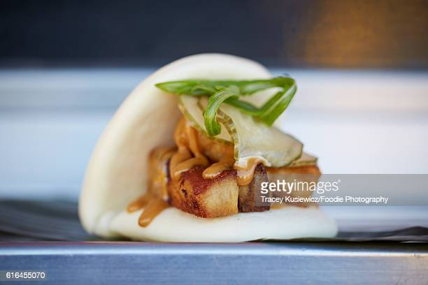 Pork belly on a Chinese steamed bun