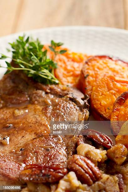 Pork chops with Carmelized Apples and Pecans