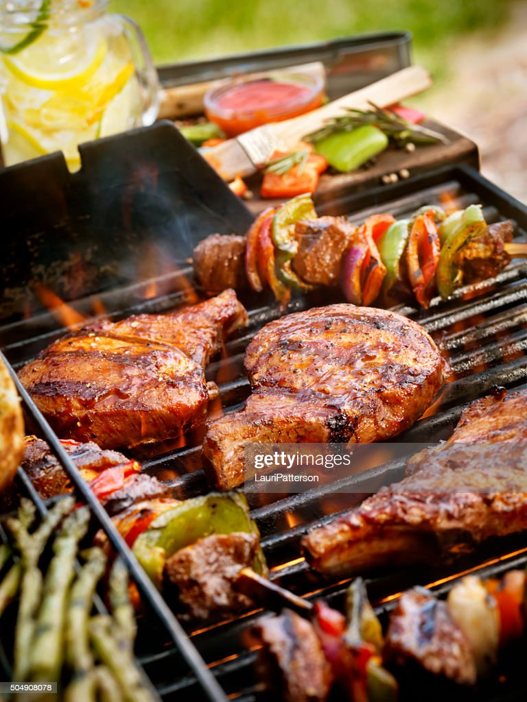Pork Chops with Kabobs on the BBQ : Stock Photo
