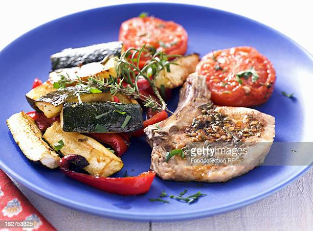 Pork chops with provencal vegetables