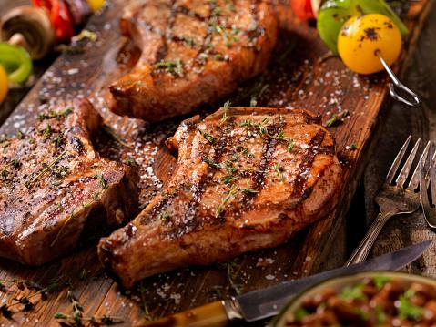 BBQ Pork Chops With Vegetable Skewers 666699512