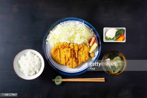 pork cutlet and cabbage served in a plate - tonkatsu imagens e fotografias de stock