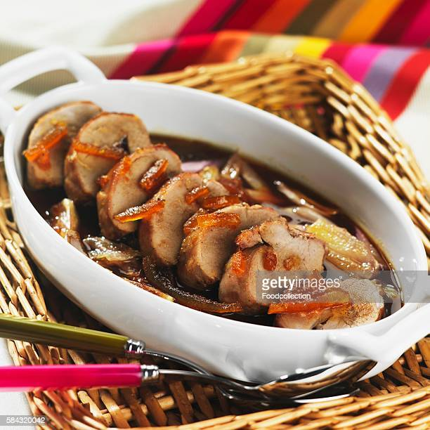 Pork fillet with candied bitter orange peel
