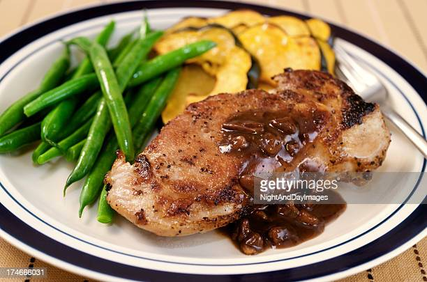 Pork Loin Chop with Sauce and Vegetables