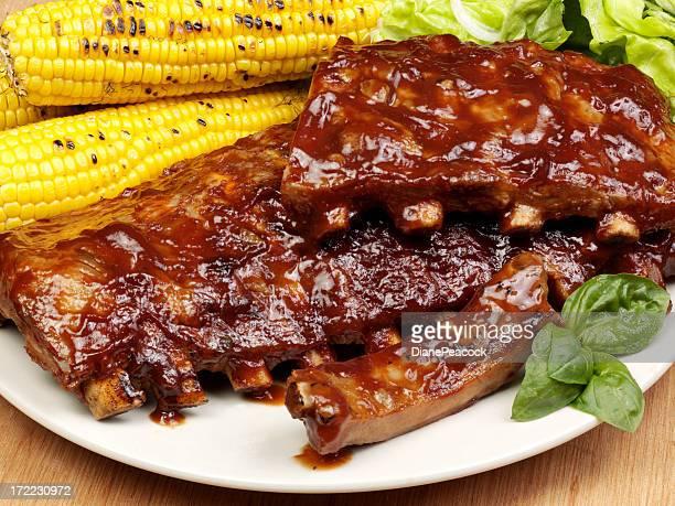 Pork rib with sauce and garnish