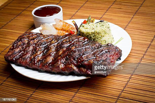 pork ribs and shrimp - sparerib stock photos and pictures