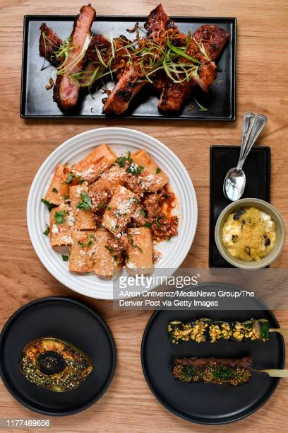 Pork ribs with chili, honey, scallions and crispy shallots , gnocco with tomato, herb and pecorino , avocado house tara , beef skewer with mustard...