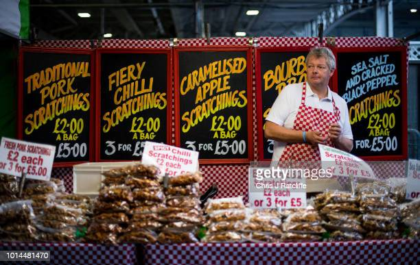 A pork scratching stall holding waits for customers during the Great British Beer Festival at Olympia Exhibition Centre on August 10 2018 in London...