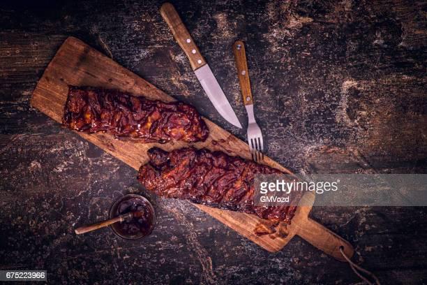 bbq pork spareribs - sparerib stock photos and pictures