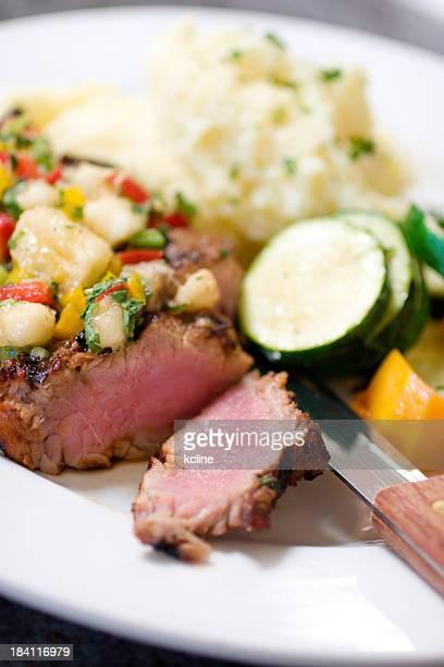 pork tenderloin dinner - chutney stock pictures, royalty-free photos & images