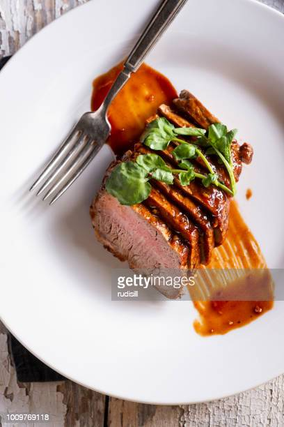 pork tenderloin - barbeque sauce stock photos and pictures