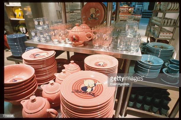 Porky Pig dishes are on display at the Warner Bros Studio store October 23 1996 in New York City The store originally a three floor specialty store...