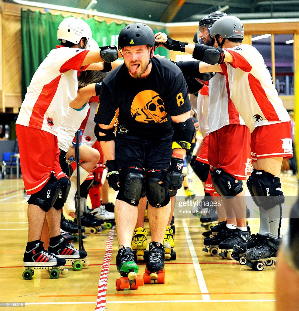 Porky The Penetrator of Tyne and Fear is shown in the Men's European Cup roller derby tournament at Walker Activity Dome on August 31, 2014 in Newcastle upon Tyne, England.