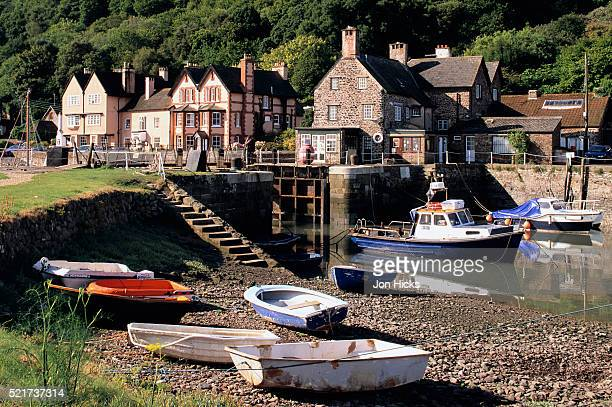 porlock weir in somerset - bay of water stock pictures, royalty-free photos & images