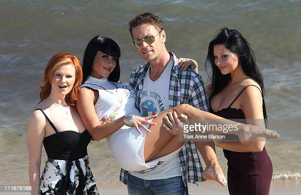 Porn Actor Rocco Siffredi Jade Laroche and Anna Polina attends the 'The Dorcel Girls' photocall at Hotel Majestic Beach on April 5 2011 in Cannes...