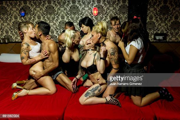 Porn actors perform during Madrid Erotic Fair presentation at Club Swinger Trivial on June 1 2017 in Madrid Spain