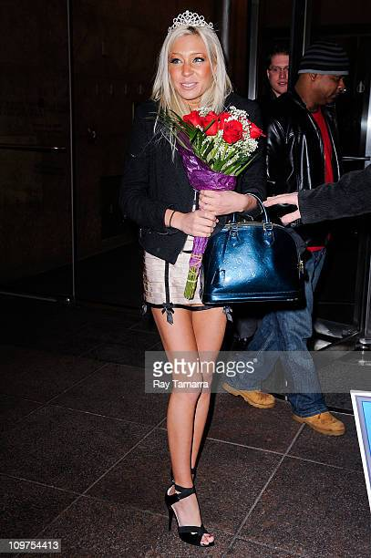 "Porn actress and ""Charlie Sheen Porn Star Pageant"" winner Kacey Jordan leaves the Howard Stern show at Sirius XM Studios on March 3, 2011 in New York..."