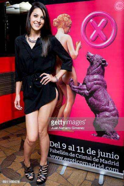 Porn actress Carolina Abril attends Madrid Erotic Fair presentation at Club Swinger Trivial on June 1, 2017 in Madrid, Spain.