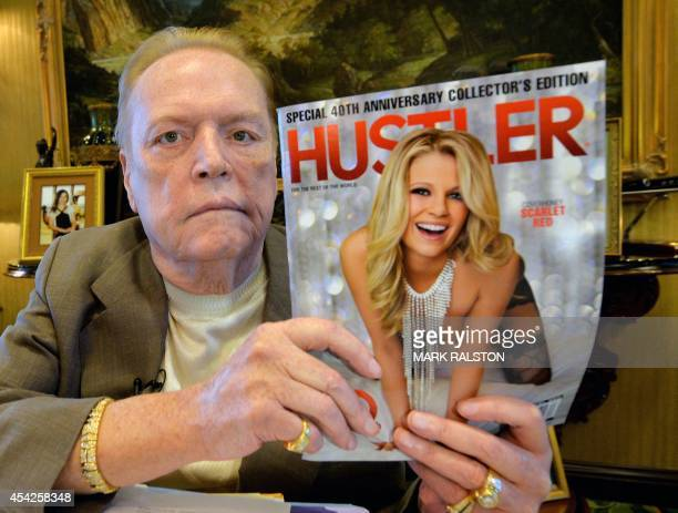 Porn mogul Larry Flynt talks about the 40th anniversary of 'Hustler' magazine at his offices in Beverly Hills,California on August 26, 2014. As...