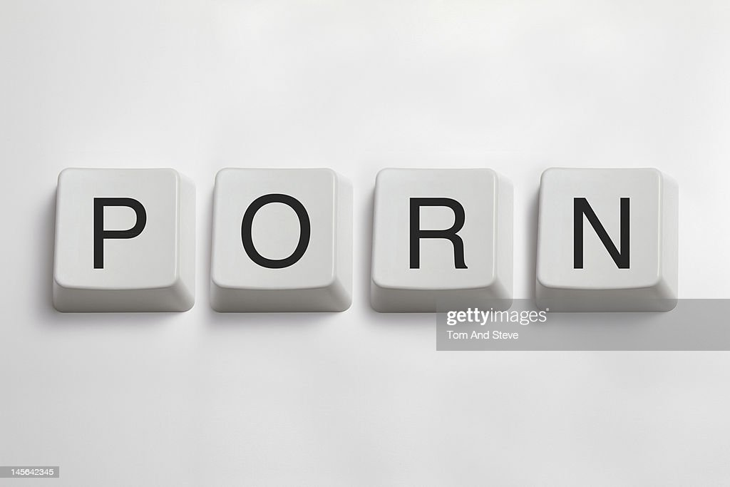 'Porn' spelled from computer keyboard keys : Stock Photo