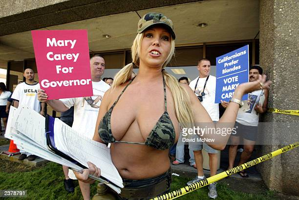Porn star Mary Carey gathers signatures for a run in the October 7 recall election of Gov Gray Davis outside the Los Angeles County Registrar's...