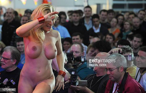 Porn star Vittoria Risi from Italy smiles on 13 November 2010 at the 16th Czech Erotic Fair trade ''Erotica 2010'' in Prague AFP PHOTO/ MICHAL CIZEK