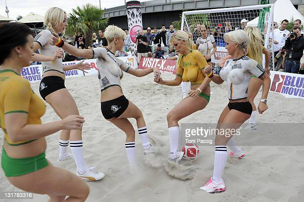 Porn Star Vivian Schmitt and Sexy Cora attend the Sexy Soccer Erotic football during the public viewing of the World Championship at Traumstrand...