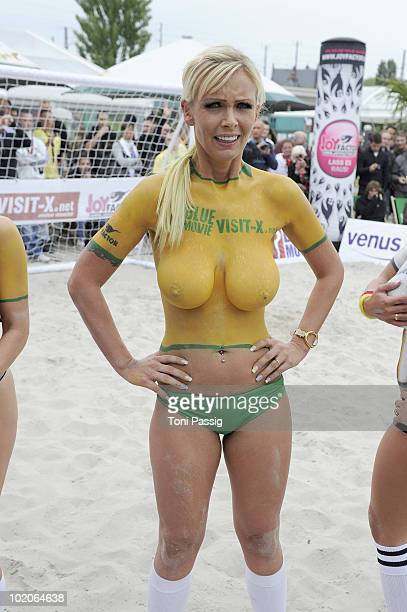 Porn Star Vivian Schmitt attends the Sexy Soccer Erotic football during the public viewing of the World Championship at Traumstrand Berlin on June 12...